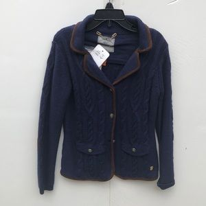 Mayoral Navy Sailboat Hooded Zip Cotton Cardigan Sweater